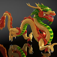 colorful chinese dragon rigged model