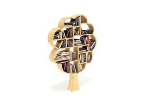 3D decorative bookshelf tree books model