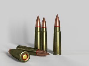 3D model cartridge 7 62x39 ak-47