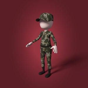 3D cartoon soldier mesh model