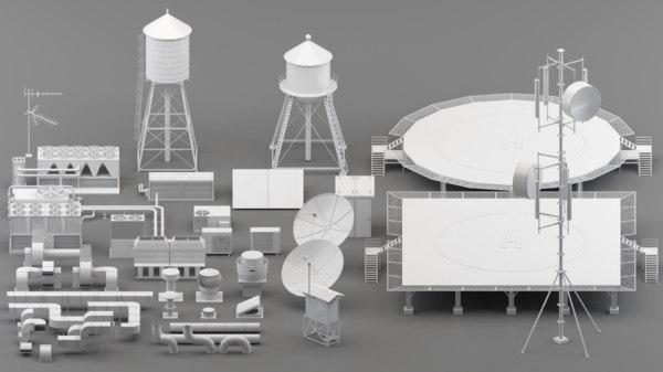 parts rooftop helipad 3D model