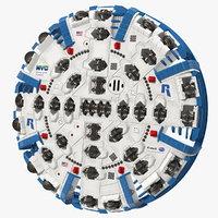 3D cutterhead tunnel machine