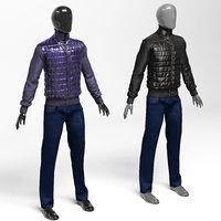 jacket polyamide black jeans 3D