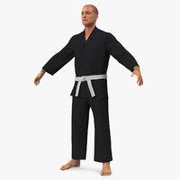 karate fighter black suit 3D model