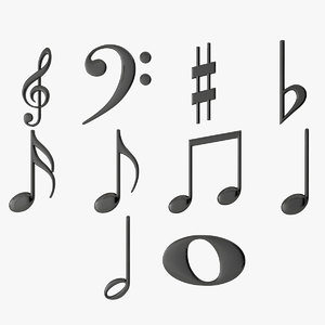 plastic musical notes 3D model