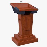 3D wooden speech podium microphones model