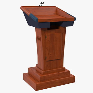 3D wooden speech podium microphones model