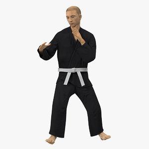 3D japanese karate fighter black model