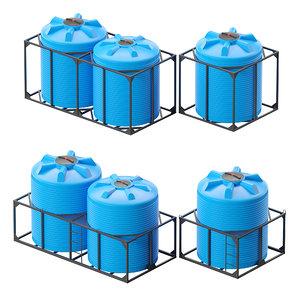 3D boxes water barrels