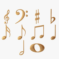 3D golden musical notes model