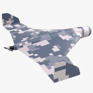 3D kamikaze drone winter camouflage model