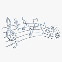 3D silver music notes waves