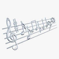 silver music stave notes 3D model