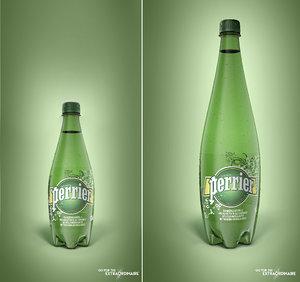 pack 2 bottles perrier 3D model