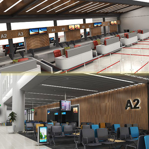 airport check-in gates waiting 3D model