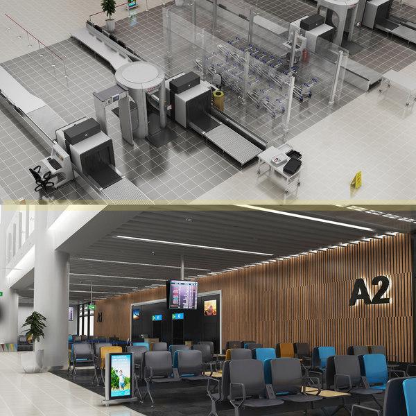 3D airport gates waiting arena