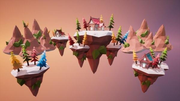 3D unreal floating islands model