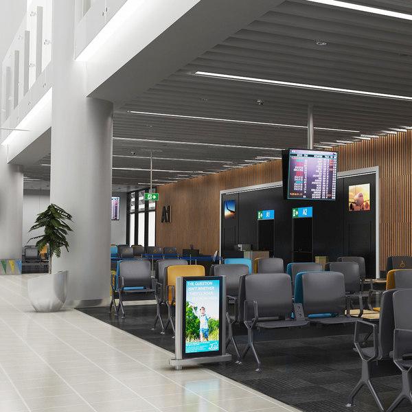 airport gates waiting arena 3D model