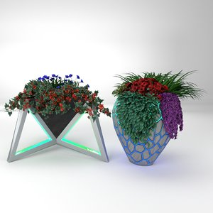 led wooden mosaic plant model