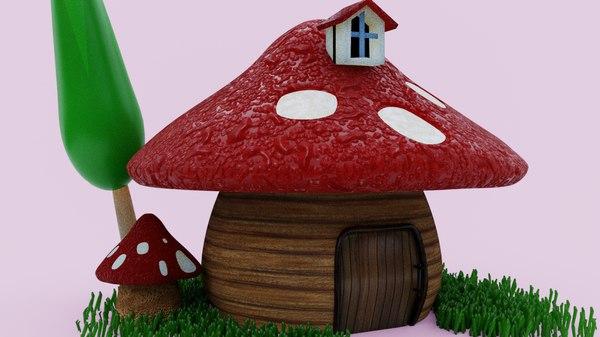 mushroom house cartoon model