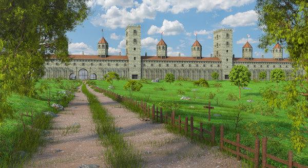 3D medieval castle fantasy model