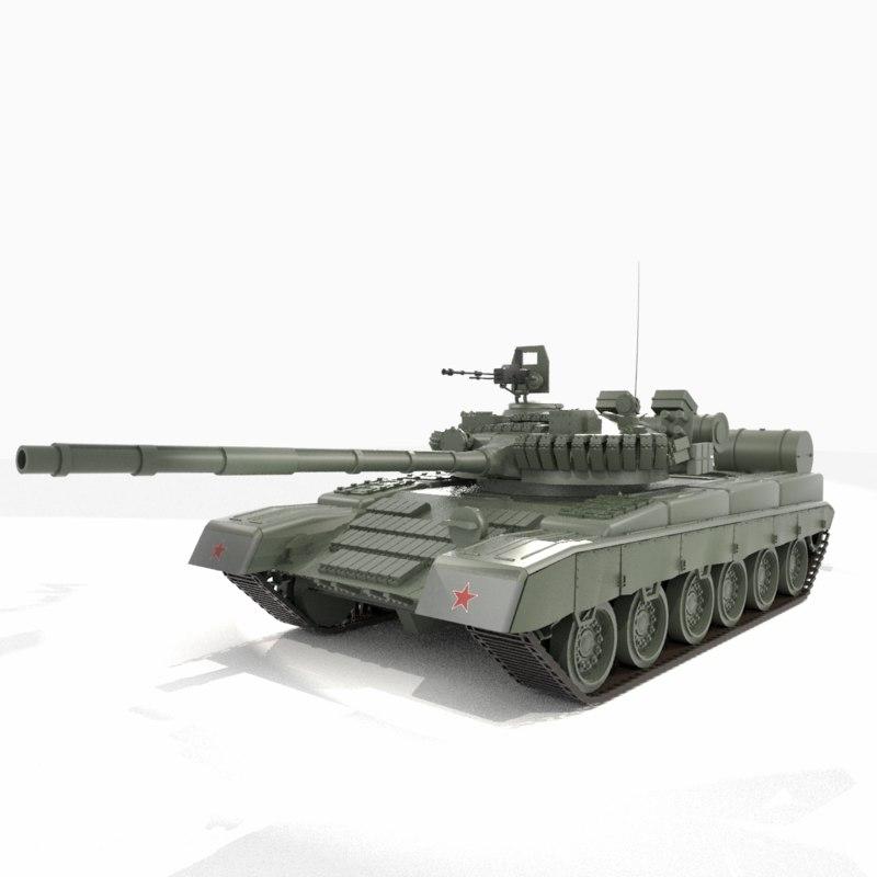 3D t-80 tank model