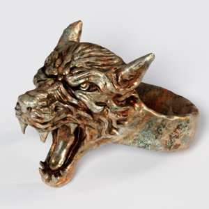 3D wolf ring