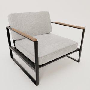 3D framed armchair black metal