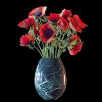 3D bouquet red anemones model