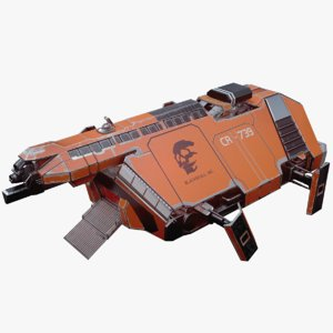 3D cargo spaceship space animation model