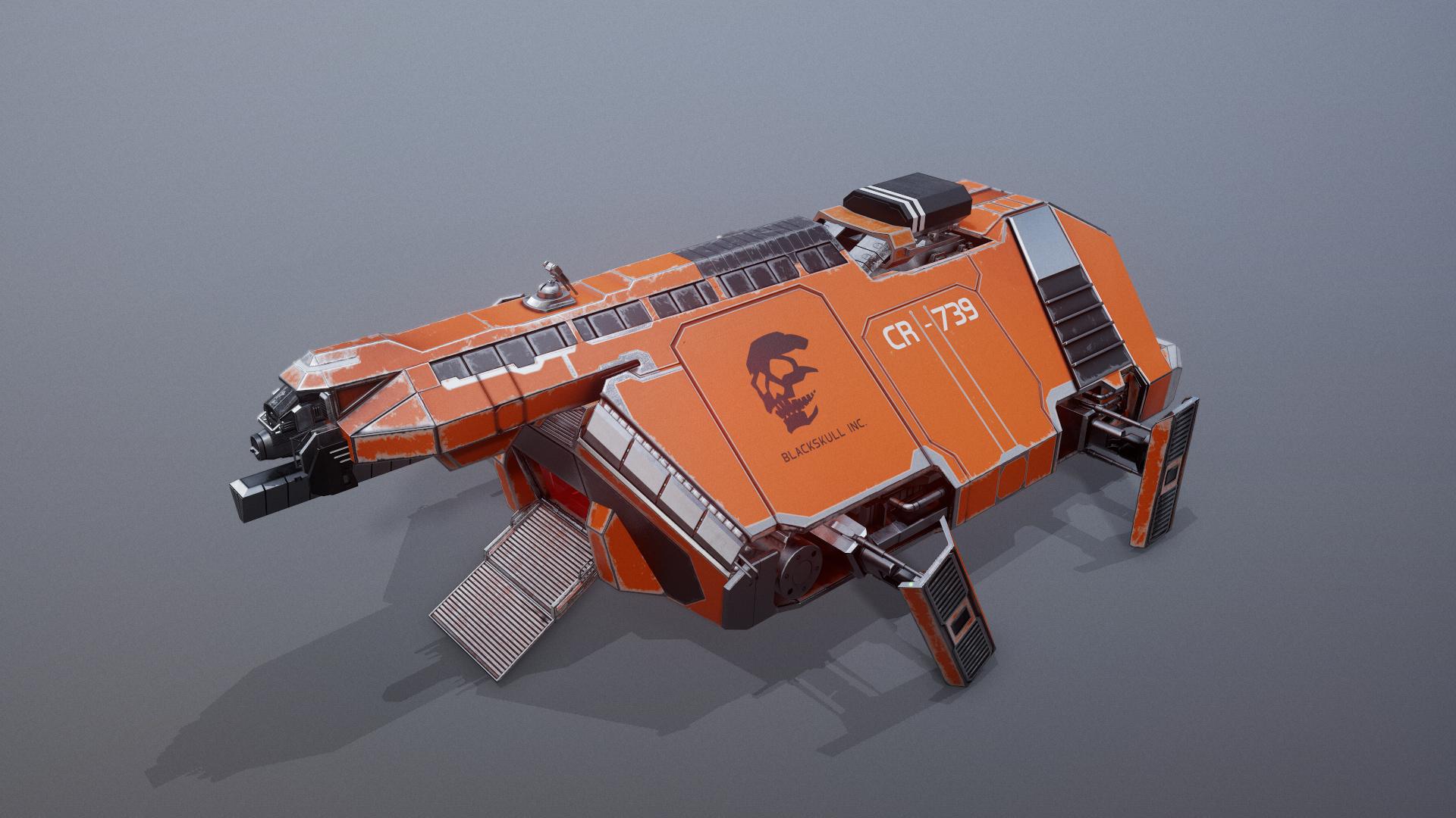 Sci-Fi Cargo Spaceship Animated
