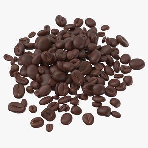 3D pile coffee beans 02 model