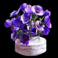 3D model bouquet purple anemones