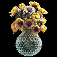 bouquet yellow anemones 3D