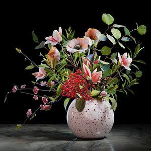 3D anemones carnation eucalyptus