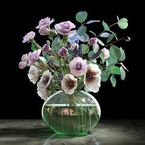 anemones carnation eucalyptus 3D model