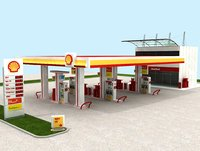 High Detail Gas Petrol Station Shell