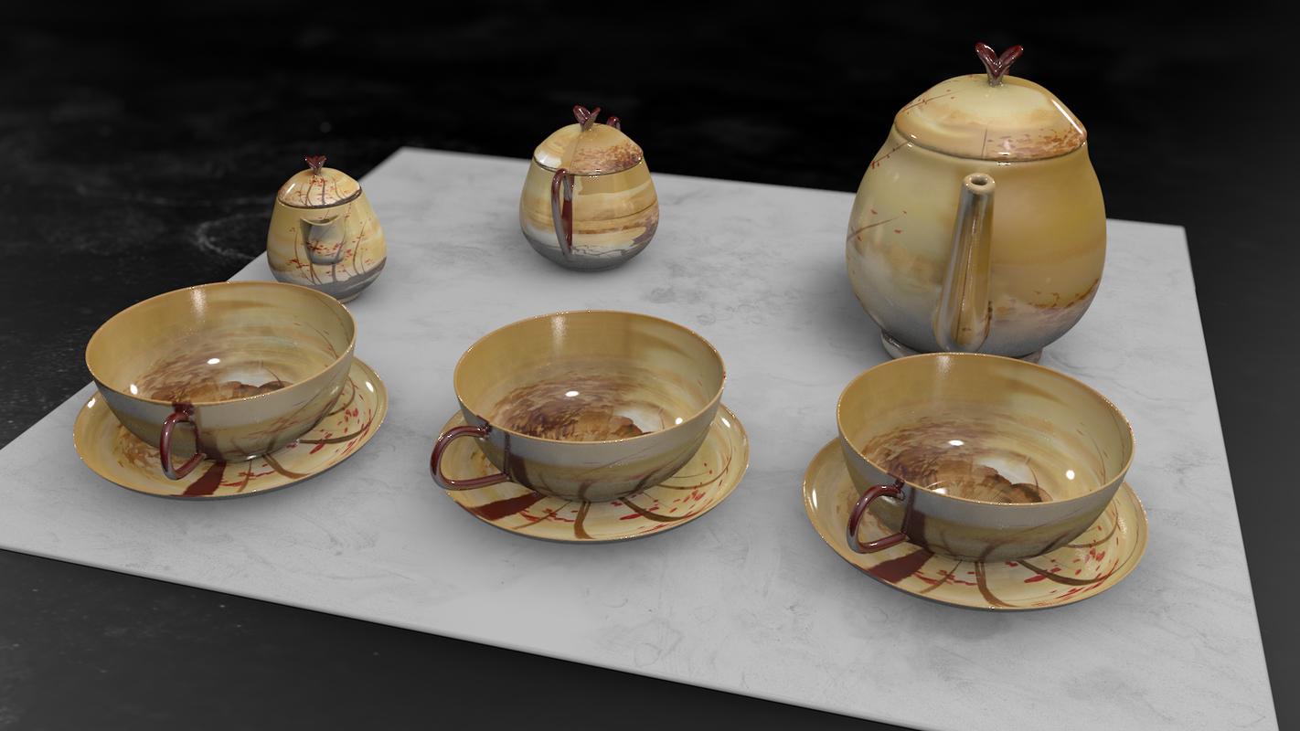 3D vintage china coffee set model
