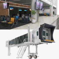 3D model airport gates way