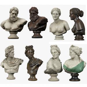busts greek bronze 3D model