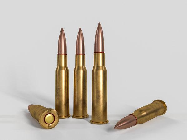 3D model cartridge rifle svt