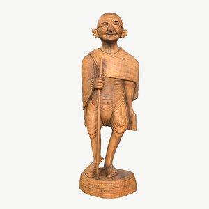 3D wooden sculpture gandhi model