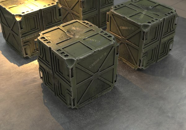 3D crate industrial container model
