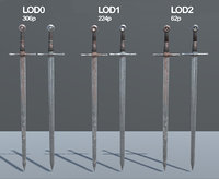 PBR Medieval Sword LowPoly LODs