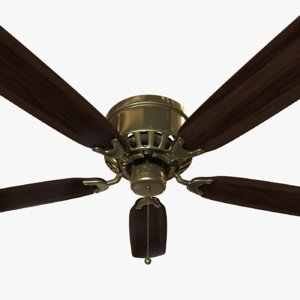 realistic brass ceiling fan 3D model