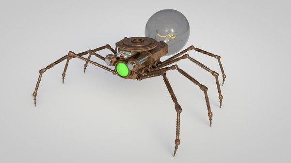 steampunk spider robot 3D