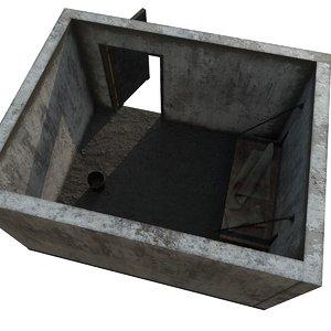 3D old prison cell door