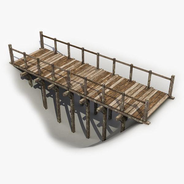 wooden bridge wood model