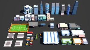 3D model city pack buildings