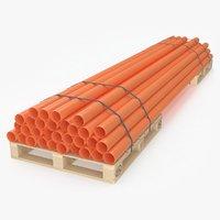 3D model wooden pallets tubes